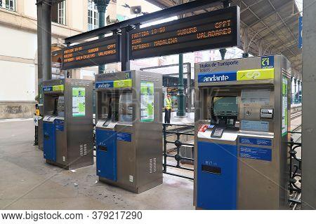 Porto, Portugal - May 24, 2018: Comboios De Portugal Train Ticket Machines At Sao Bento Station In P