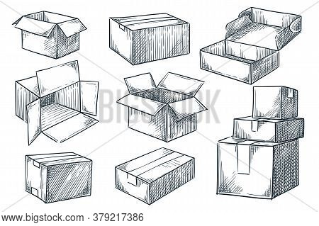 Cardboard Boxes Set. Closed And Open Empty Postal Packages Collection. Vector Hand Drawn Sketch Illu