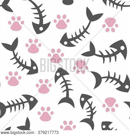 Seamless, Endless Pattern With Cat S Paw And Fish Bone On A Dark Background, Vector Illustration Wit