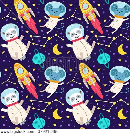 Panda Bear, Mouse, Space Suit, Planet, Star, Moon, Constellation, Space Probe, Galaxy, Science. Cosm