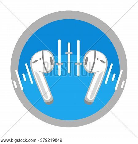 Wireless Earphones Flat Round Icon. Personal Mini Earpieces Without Cable. Concept Music Player, Lis