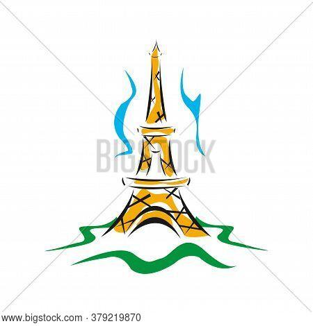 Eiffel Tower Logo Icon. Old Style. Symbol French, Paris, Holiday, Travel Tour. Black Silhouette Tall