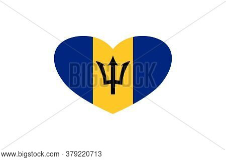 Barbados Flag In The Heart Shape. Isolated On A White Background.