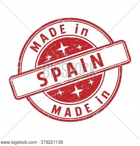 An Impression Of A Seal With The Inscription Made In Spain, Isolated On A White Background