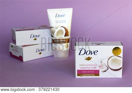 Kharkov, Ukraine - March 4, 2020 : Dove Soap And Cream For Hand With Coconut Milk. Introduced To The