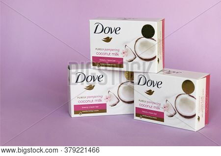 Kharkov, Ukraine - March 4, 2020 : Dove Soap With Coconut Milk. Introduced To The British Market In
