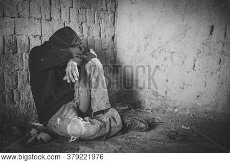 Portrait Of Young Adult Person With Substance Dependence After Long Term Drug And Medication Abuse,