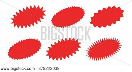 Starburst Sticker Set - Collection Of Special Offer Sale Oval Shaped Sunburst Labels And Badges.