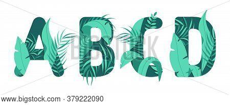 Vector Letters A B C D Of The Alphabet. Leaf Design.