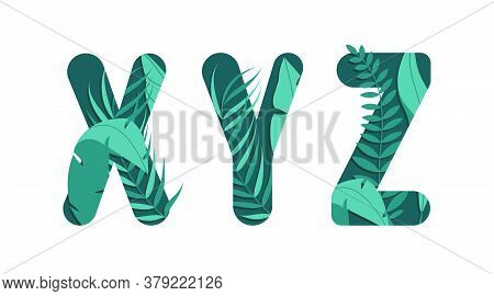 Vector Letters X Y Z Of The Alphabet. Leaf Design.