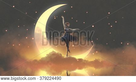 A Ballerina Dancing With Fireflies Against The Crescent Moon, Digital Art Style, Illustration Painti