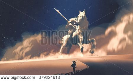 A Woman Walking On A Desert To The Giant Horseman-shaped Storm, Digital Art Style, Illustration Pain