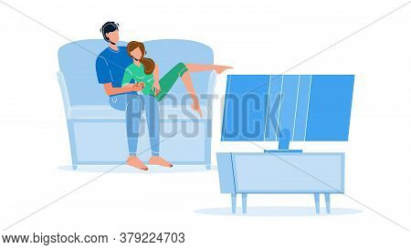 Pastime Couple Family Watching Tv Together Vector