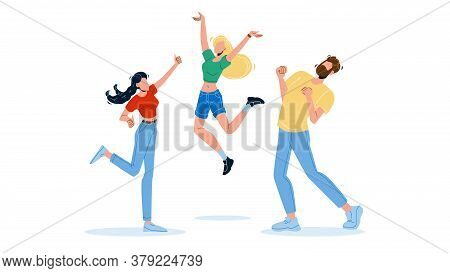 Happy People Jumping Enthusiasm Emotion Vector Illustration