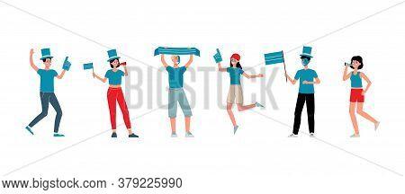Football Fan People Set - Cheerful Friend Group Wearing Sport Club Fan Gear