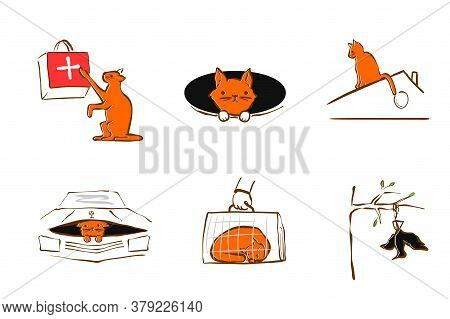 Vector Illustration Design For Pet Rescue Service. The Cat Injured Its Paw, Fell Into A Hole, Crawle