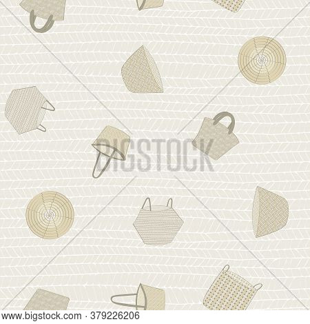 Vector Baskets In Brown Gold Beige Scattered On Beige Seamless Repeat Pattern. Background For Textil