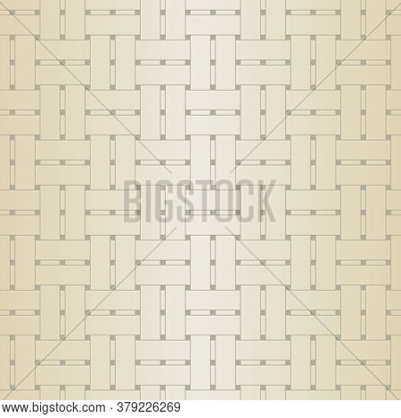 Vector Basket Weave Texture In Gold Beige Ombre On Brown Seamless Repeat Pattern. Background For Tex