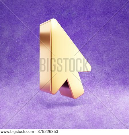 Mouse Pointer Icon. Gold Glossy Mouse Pointer Symbol Isolated On Violet Velvet Background. Modern Ic