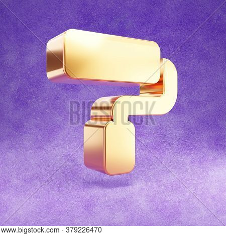 Paint Roller Icon. Gold Glossy Paint Roller Symbol Isolated On Violet Velvet Background. Modern Icon