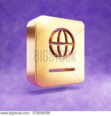 Passport Icon. Gold Glossy Passport Symbol Isolated On Violet Velvet Background. Modern Icon For Web