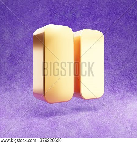Pause Icon. Gold Glossy Pause Symbol Isolated On Violet Velvet Background. Modern Icon For Website,