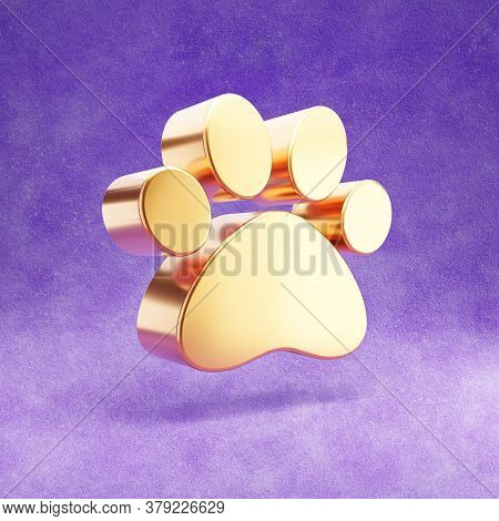 Paw Icon. Gold Glossy Paw Symbol Isolated On Violet Velvet Background. Modern Icon For Website, Soci