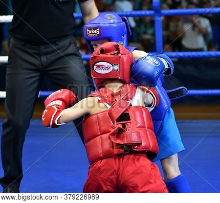 Orenburg, Russia - October 20, 2019: Boys Compete In Thai Boxing
