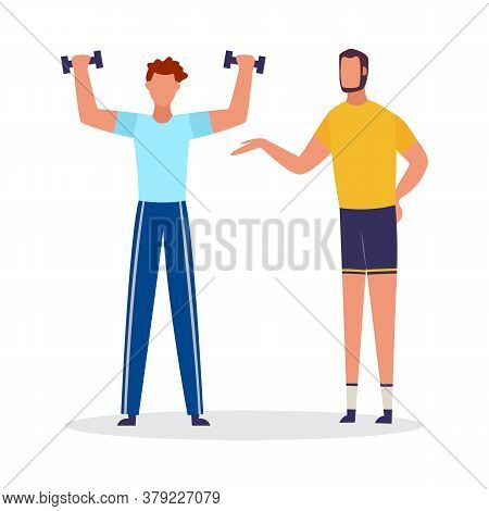 Cartoon Man Lifting Weights With Personal Coach. Sport Coach Helping Client