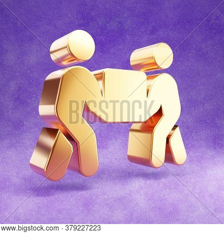 People Carry Icon. Gold Glossy People Carry Symbol Isolated On Violet Velvet Background. Modern Icon