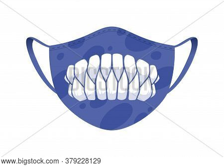Halloween Mask - Covid-19 Medical Mask With Funny Design - Purple Monster Sharp Teeth.