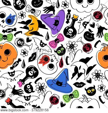 Halloween Symbols Seamless Pattern. Scary Colorful Background.