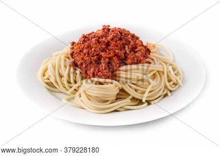 Spaghetti With Bolognese Sauce Isolated On White Background