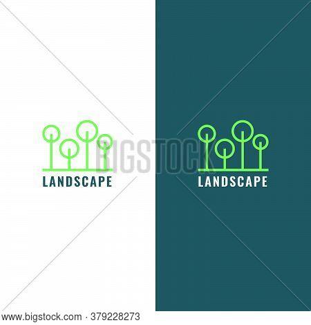 Landscaping Company Logo In The Form Of Lines That Make Up Four Trees. Modern, Simple, Clean, Elegan