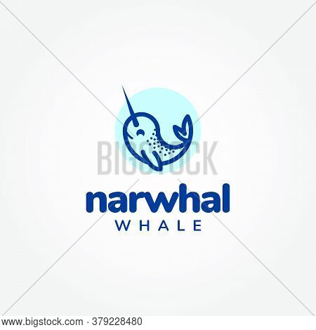 Cute Cartoon Narwhal Whale Inside A Blue Circle. Fun, Modern, Simple, And Clean. Suitable For Conser