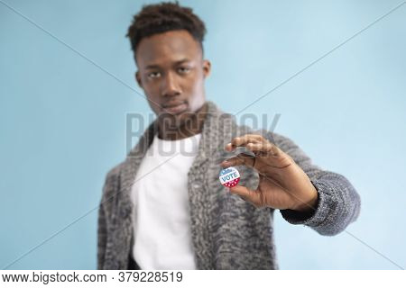 Democracy Election 2020. African American Man With Pinned Vote Button On Blue Background, Copy Space