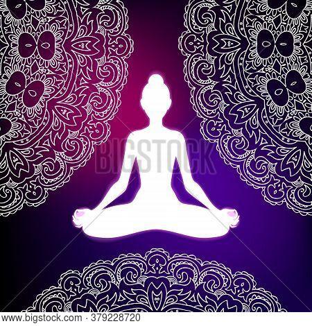 Meditating Woman In Lotus Pose On Mandala Background. Yoga Illustration.