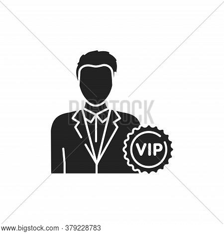 Vip Person Glyph Black Icon. Exclusive Membership. Sign For Web Page, Mobile App, Button, Logo.