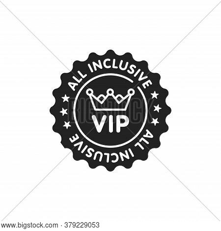 All Inclusive Sticker Glyph Black Icon. Vip Membership. Exclusive Offer From Travel Agency. Sign For