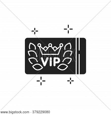 Vip Card Glyph Black Icon. Customer Privilege Web Exclusive Badge. White Background With Crown Laure