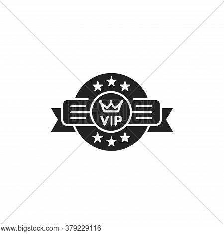 Vip Emblem Glyph Black Icon. Exclusive Membership. Sign For Web Page, Mobile App, Button, Logo. Vect