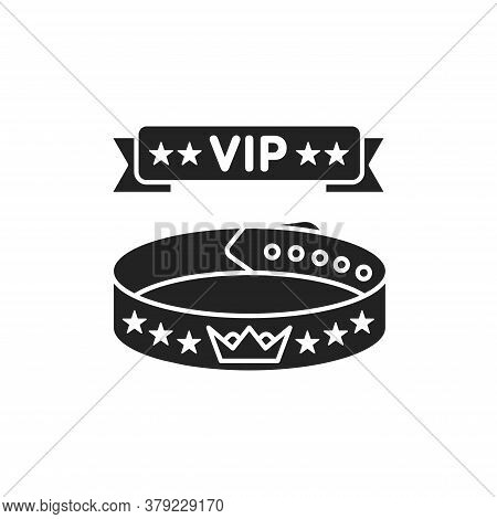 Vip Wristband Glyph Black Icon. Bracelet For Entering Various Events. All Inclusive. Red Ribbon With