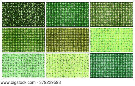 Mosaic Patterns Set. Green Square Abstract Wallpaper Collection. Backgrounds With Pixel Grid Effect.