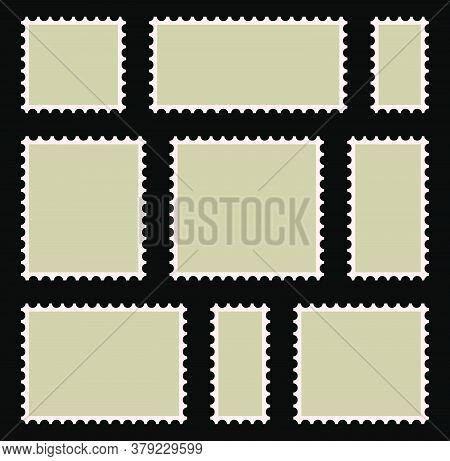 Postal Stamp Frame Or Border Set With Copyspace. Blank, Beige Postage Marks Collection. Retro Letter
