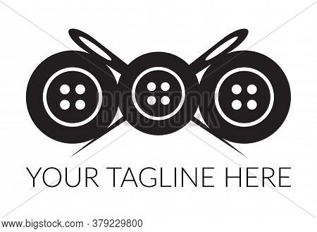 Tailor Logotype Crossed Sewing Needles With Sewing Buttons. Tailor Logo Template Vector Symbol