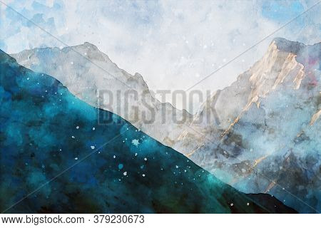 Abstract Painting Of Mountains, Nature Landscape Image, Digital Watercolor Illustration, Art For Wal