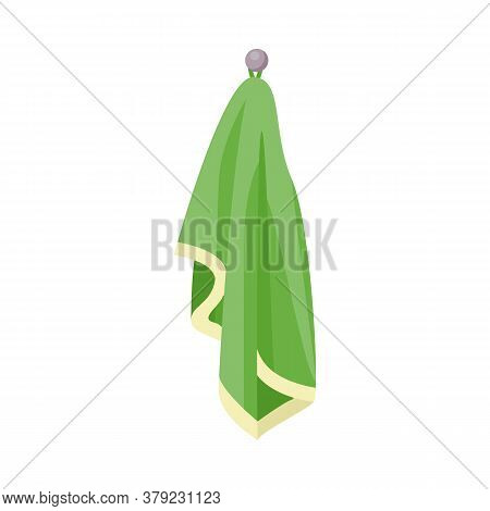Icon Of Fluffy Bath Towel Hanging On Wall, Flat Vector Illustration Isolated.