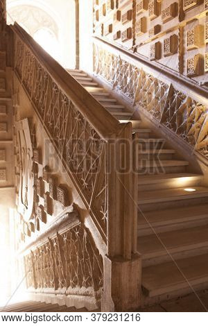 Valladolid, Spain - July 18th, 2020: Colegio De San Gregorio Indoor Stairs. Isabelline Style Buildin