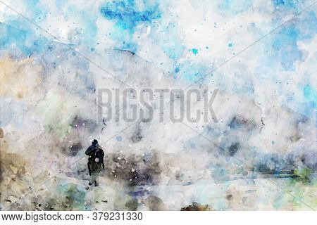 Abstract Painting Of Solo Trekker On Mountain, Digital Watercolor Illustration, Art For Wall