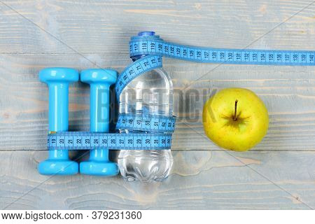 Tools For Healthy Lifestyle. Workout And Losing Weight Concept